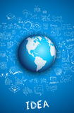 Idea concept with 3D Earth Globe. And doodle sketches infographic background Royalty Free Stock Image