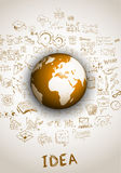 Idea concept with 3D Earth Globe. And doodle sketches infographic background Royalty Free Stock Photos