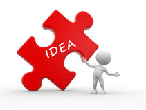 Idea concept. 3d people - man, person with pieces of puzzle and word IDEA Stock Images