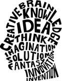 Idea concept design. Illustration of human silhouette with idea concept design Stock Photo