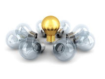Idea Concept Golden Light Bulb Out From Others Bulbs Royalty Free Stock Photo