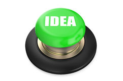 Idea concept on green push button Royalty Free Stock Photos
