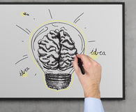 Idea concept. Hand drawing bulb with brain, idea concept Royalty Free Stock Photo