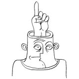 Idea concept. Hand-drawn illustration of a person thinking, fing Stock Photo
