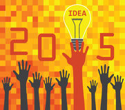 2015 idea concept. With hands and light bulb on digital background stock illustration