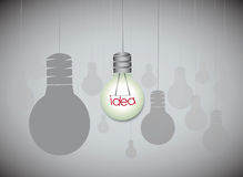 Idea concept with hanging light bulbs Royalty Free Stock Image