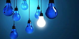 Idea concept, Hanging light bulbs with glowing one isolated on dark blue background vector illustration