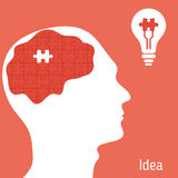 Idea concept. With human head and puzzle pieces Stock Image