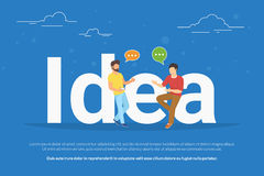 Idea concept illustration of two young people talking about new business idea Royalty Free Stock Image