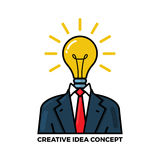 Idea concept illustration. Vector outline illustration of creative idea in light bulb shape and tuxedo as inspiration concept, innovation, invention, effective Stock Photos