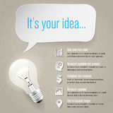 Idea concept - info graphics - paper icons - place for text Stock Photography