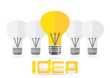 Idea concept lamp and text. Vector EPS10. Royalty Free Stock Image