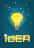 Idea concept lamp and text. Vector EPS10. Royalty Free Stock Photos
