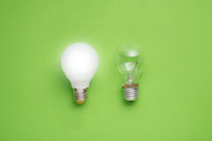 Idea concept with led bulb and tungsten bulbs Stock Photo