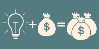 Idea concept. light bulb + bag with money = more money Royalty Free Stock Photos