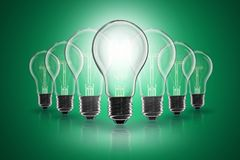 Idea concept - light bulb on the color background. Idea and leadership concept - incandescent light bulb on the color background royalty free stock photography