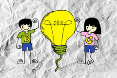 Idea concept light bulb on crumpled paper. An images of idea concept light bulb on crumpled paper stock illustration