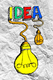 Idea concept light bulb on crumpled paper Royalty Free Stock Photography