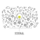 Idea Concept with Light Bulb. And Doodle Sketches Creative, Technology  Icons Stock Photography