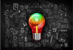 Idea concept with light bulb and doodle sketches Stock Photography