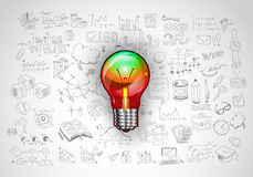 Idea concept with light bulb and doodle sketches Royalty Free Stock Photos