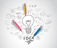 Idea concept with light bulb and doodle sketches. Infographic icons Royalty Free Stock Photos