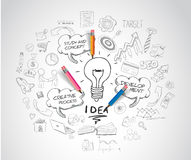 Idea concept with light bulb and doodle sketches. Infographic icons Stock Image