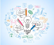 Idea concept with light bulb and doodle sketches. Infographic icons Royalty Free Stock Images