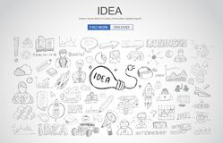 Idea concept with light bulb and doodle sketches infographic. Icons hand drawn Royalty Free Stock Images