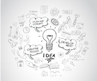 Idea concept with light bulb and doodle sketches infographic. Icons hand drawn Royalty Free Stock Photos
