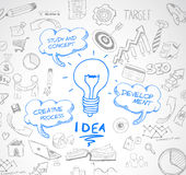 Idea concept with light bulb and doodle sketches infographic. Icons hand drawn.Doodle design style :finding solution, brainstorming, creative thinking. Modern Stock Photo