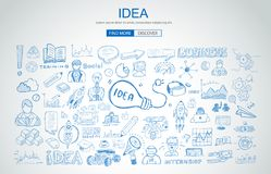 Idea concept with light bulb and doodle sketches infographic. Icons hand drawn Stock Image