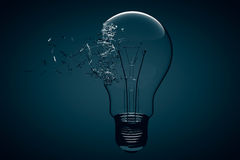 Idea Concept. Light Bulb Exploding Royalty Free Stock Images