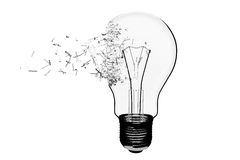 Idea Concept. Light Bulb Exploding Royalty Free Stock Photos