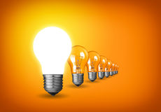Idea. Concept with light bulbs Stock Images