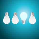 Idea concept with light bulbs on a blue background Royalty Free Stock Photo