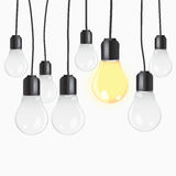 Idea concept with light bulbs Royalty Free Stock Image
