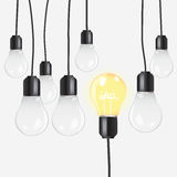 Idea concept with light bulbs Stock Photo