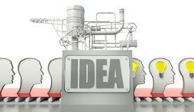 Idea concept with light bulbs in people's minds stock illustration