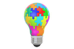 Idea concept, lightbulb from puzzle pieces. 3D rendering Royalty Free Stock Photos