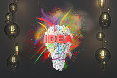 Idea concept with lightbulbs Royalty Free Stock Photo