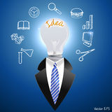 Idea concept, man with a light bulb - vector eps10. I have created idea concept, man with a light bulb - vector eps10 royalty free illustration