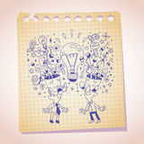 Idea concept note paper cartoon sketch Royalty Free Stock Photo