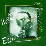 Idea concept - painterly light bulb (with doodles) Royalty Free Stock Photos