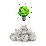 Idea concept with paper notes. Inspiration concept crumpled paper light bulb Stock Image