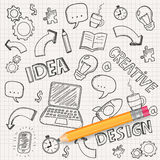 Idea concept with pencil and doodle sketches. Infographic icons. Business doodles set. Vector. Illustration Stock Photos