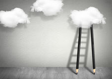Idea concept, pencil Ladder to clouds Royalty Free Stock Image