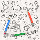 Idea concept with pencils and doodle sketches. Infographic icons. Business doodles set. Vector Stock Photos