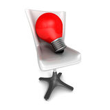 Idea concept with red light bulb and office chair Royalty Free Stock Photo