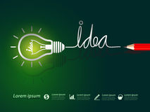 Idea concept. Red pencil write idea concept with light bulbs on green background Royalty Free Stock Images